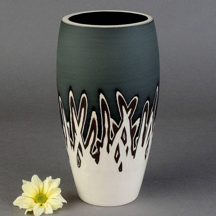 handmade ceramic scratch design curved vase by rowena gilbert contemporary ceramics | notonthehighstreet.com