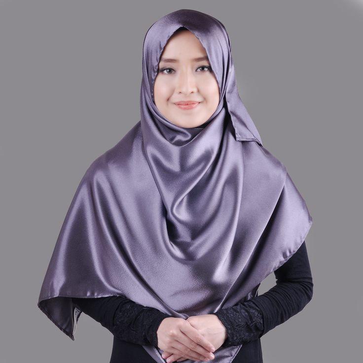 Basic Plain Wide Satin Silk Shawl in Gray (Free Hijab Pin!) - BAJUFOUNDRY