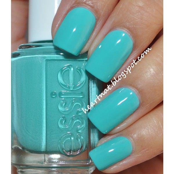turquoise nails ❤ liked on Polyvore featuring beauty products, nail care, nails, makeup, beauty, nail polish and unhas