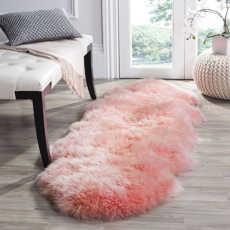 Safavieh Prairie Natural Pelt Sheepskin Wool Solid Pink Shag Rug (2' x 6') (SHS121L-26), Black, Size 2' x 6'
