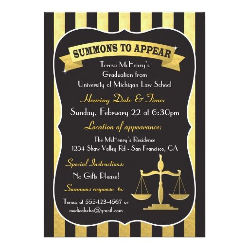 163 best law school graduation invitations images on pinterest elegant law school graduation summons card filmwisefo Images