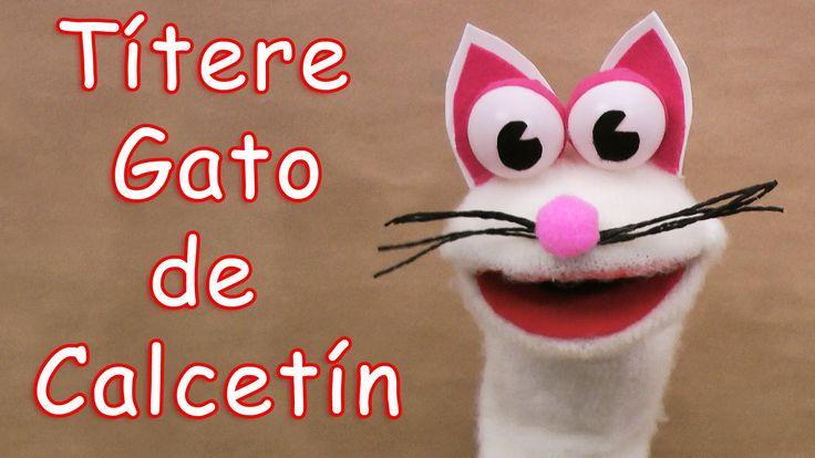 Títere de gato con calcetín - Manualidades para todos - Cat sock puppet