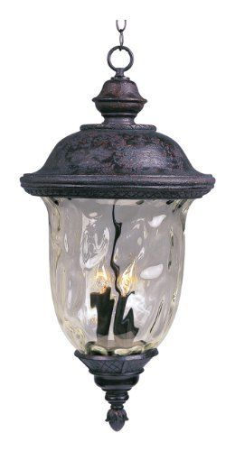 Maxim Lighting 3427WGOB Carriage House DC 3-Light Outdoor Hanging Lantern, Oriental Bronze Finish by Maxim Lighting. $116.64. From the Manufacturer                The Maxim Lighting 3427WGOB Carriage House DC Collection 3-light Outdoor Hanging Lantern is made of die cast aluminum and finished in an oriental bronze while being paired with a beautiful water glass shade. It will complement your transitional decor and provide years of satisfaction with the its early American style. T...