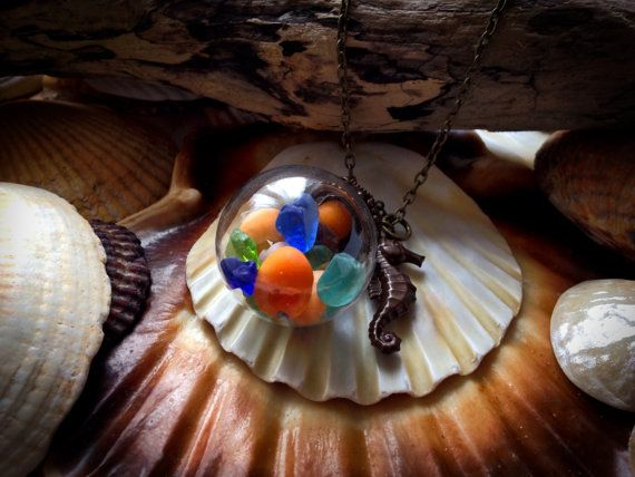 Globe Sea Glass and Seashell Necklace GLass by EveryoneLovesTheSea