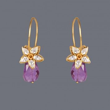 Zircons and amethyst drops earring