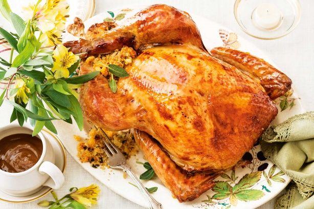 Roast turkey with apricot and hazelnut stuffing