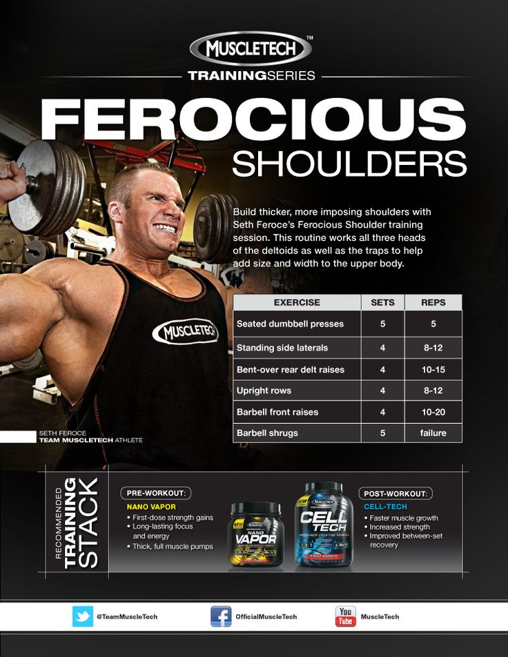 Build thicker, more imposing shoulders with Seth Feroce's Ferocious Shoulder training session. This routine works all three heads of the deltoids as well as the traps to help add size and width to the upper body!