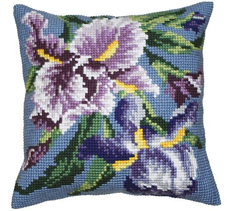 Iris Mauve Cushion Front Chunky Cross Stitch Kit   sewandso