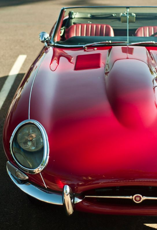 red - this is about a 1962 Jaguar XKE convertible.                                                                                                                                                                                 More
