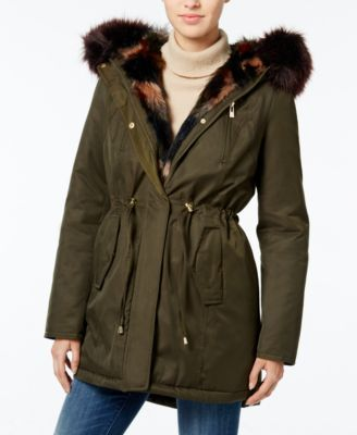 Wildflower Hooded Faux-Fur Parka, Only at Macy's | macys.com