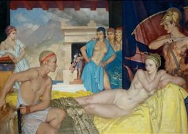 Artwork by Sir William Russell Flint, APOLLO FINDS APHRODITE WITH ARIES IN THE MANSION OF HEPHAESTUS, Made of gouache on board