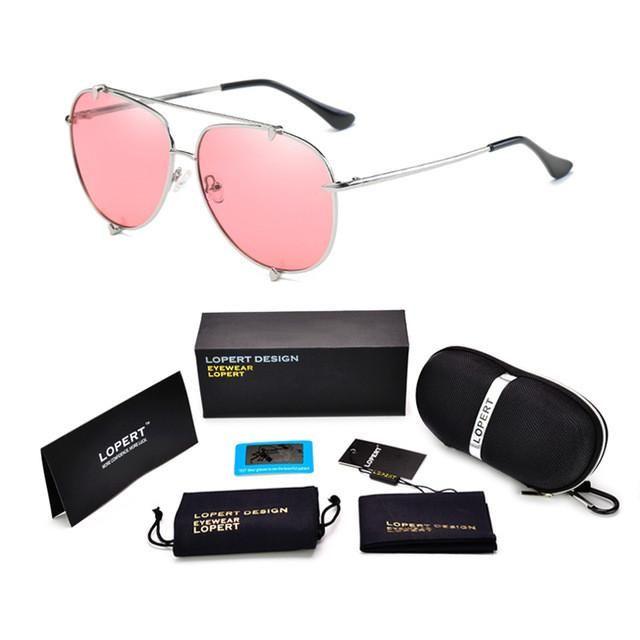 LOPERT Steampunk Aviators Polarized Sunglasses Men Women Glasses  Classic Brand Designer Ocean Color Lens Sun Glasses UV400