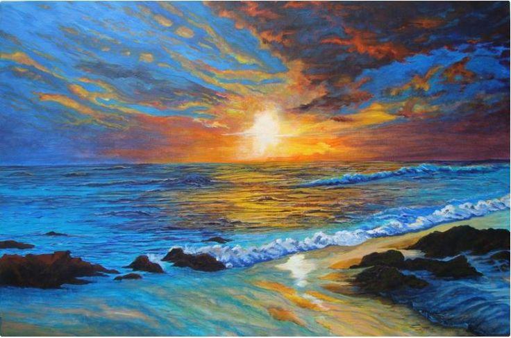Sunset at Coolum, QLD: Acrylic on Canvas by #artist Gaye Boltong  #fineart #ianart #painting http://internationalartnetwork.com/products/SunsetatCoolumQld.html