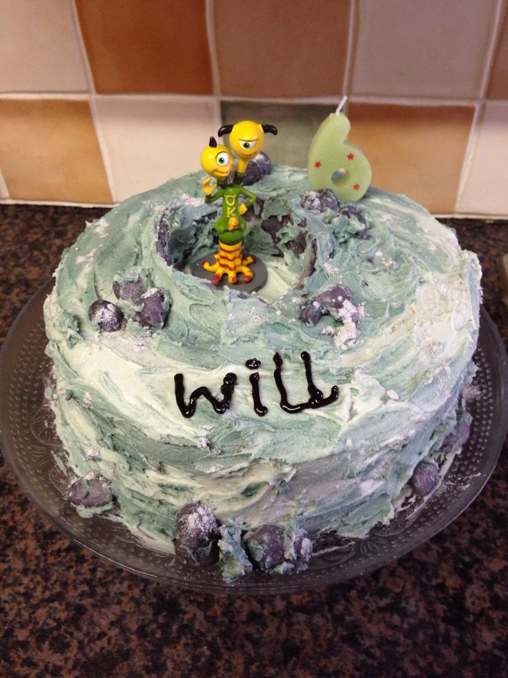 Will wanted an 'Aliens on the moon' birthday cake. The Monsters University character was the closest I could find to a 'two headed alien toy' that he wanted on the cake.