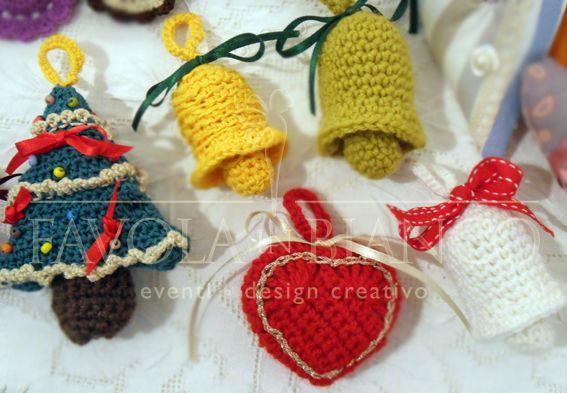 Christmas gifts - alberello, campanelle e cuoricino all'uncinetto da appendere fatti a mano