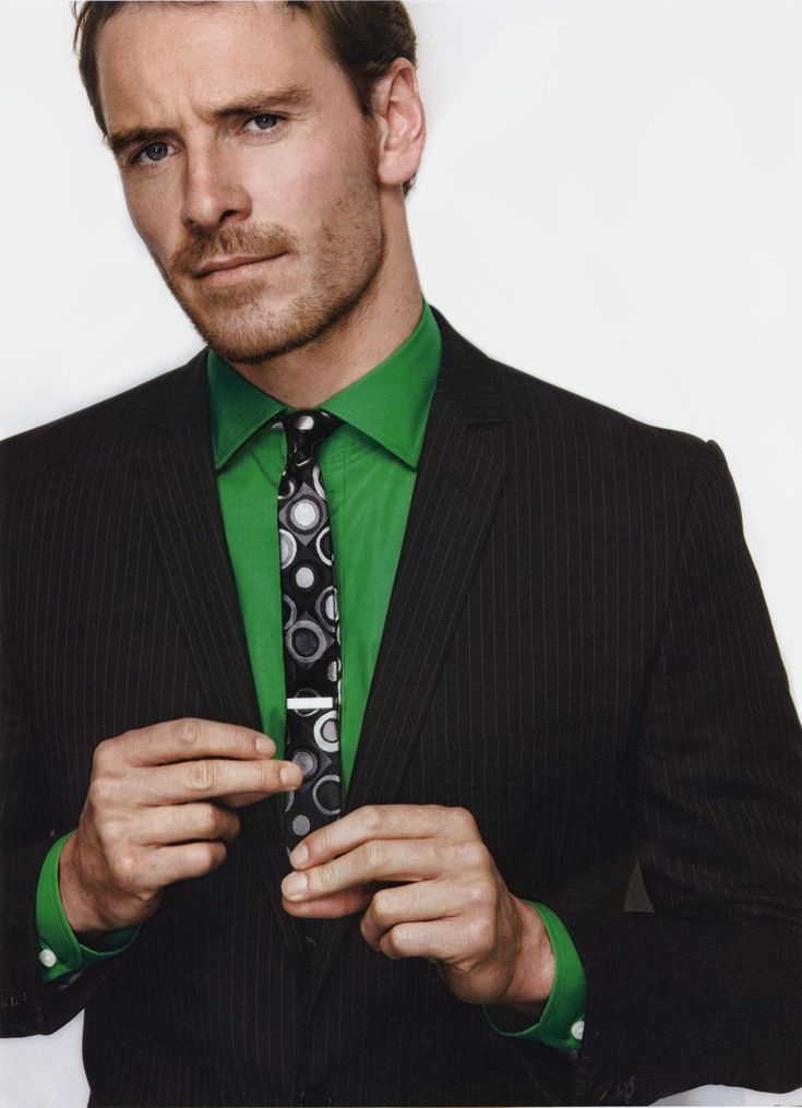 Love the bright green shirt and the skinny tie!