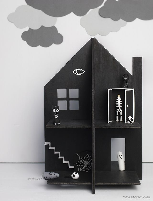 Haunted Dolls House / free templates for cardboard or plywood & tips for making spooky peg dolls