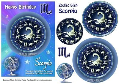 Zodiac Sign Scorpio Mystical on Craftsuprint designed by Maria Christina Vieira  - 5x7 Zodiac sign Birthday card front with Pyramage layers . If you cant find a suitable Birthday card...you cant go wrong with a Zodiac sign card! - Now available for download!