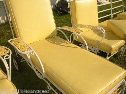 Vintage Wrought Iron Patio Chairs | Patio Set   7 Pc, Chaise Lounge, Sofa