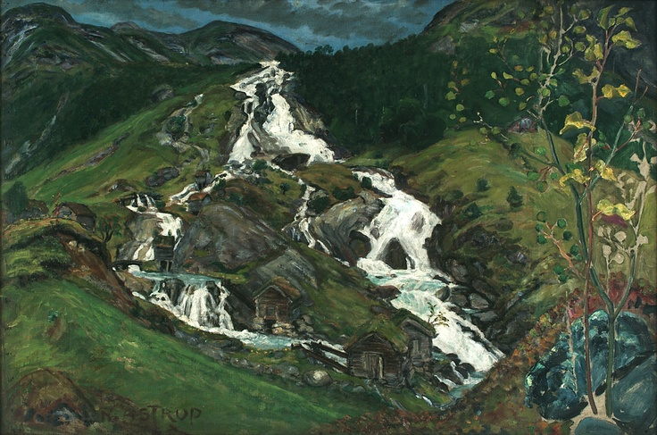 Nikolai Astrup (1880-1928): Waterfall and Mill House, 1923, Oil on canvas, Bergen Kunstmuseum