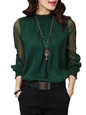 64f42337a Mulheres Camisa Social - Trabalho Básico Luva Lantern Sólido ...