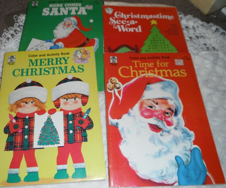 4 Books Vintage Christmas Coloring And Activity Christmastime See A Word Book 995