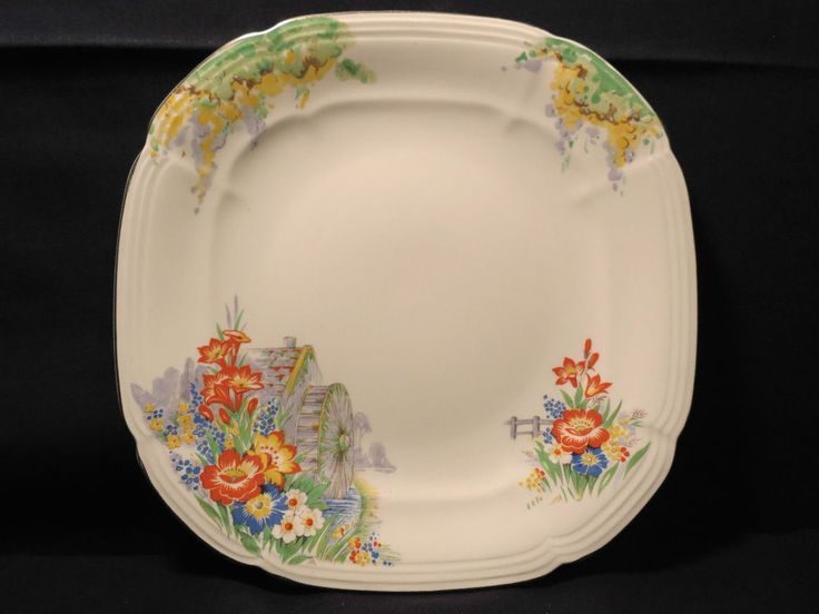 Alfred Meakin Salad Plate Royal Marigold Ironstone Water Mill Vtg 8 3/4  Flower