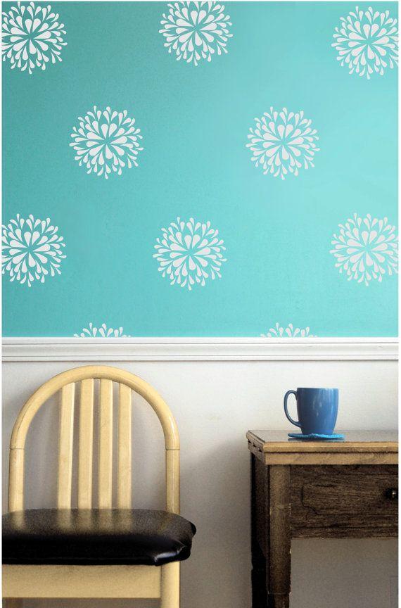 Flower blooms wall decals stencil stickers wall pattern art