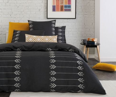 Zia Quilt Cover Set styled with some colour see www.designerschoice.com.au