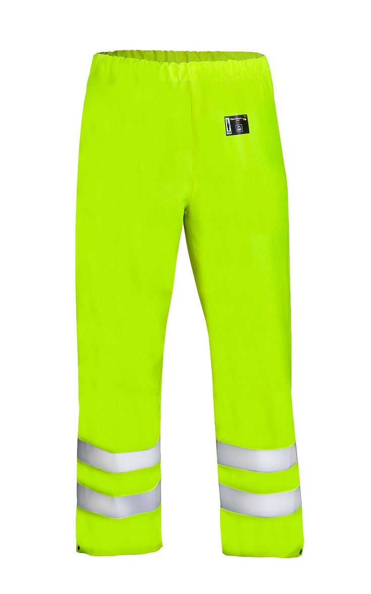 WATERPROOF WARNING WAIST TROUSERS Model: 401R The trousers have elasticated waist and legs adjustement by snaps. Reflective tape on bibpants make workers more visible. The model is made on 2 waterproof fabrics called Plavitex and Plavitex Fluo and it has been designed to be used at unfavorable weather conditions where visibility is limited. Thanks to double welded high frequency seams the product protects against rain and wind.