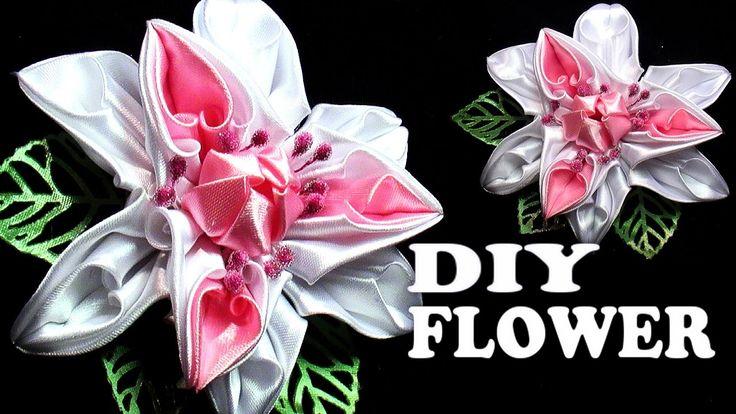 Ribbon Flower Tutorial, Цветы канзаши мастер класс, Flowers Kanzashi Tat...