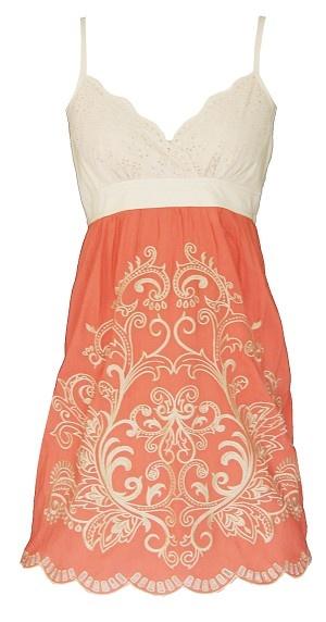 Orange Embroidery Camisole Dress