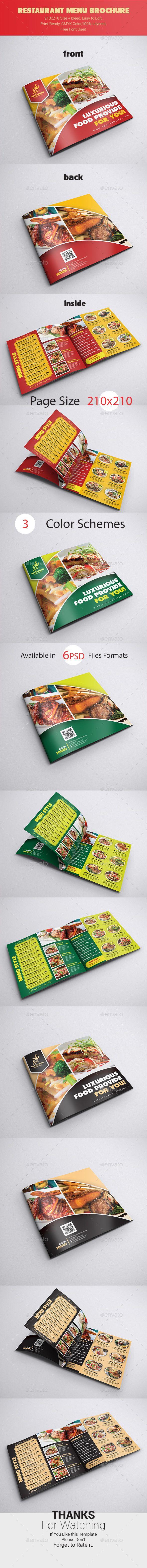 Restaurant Menu Brochure Template PSD