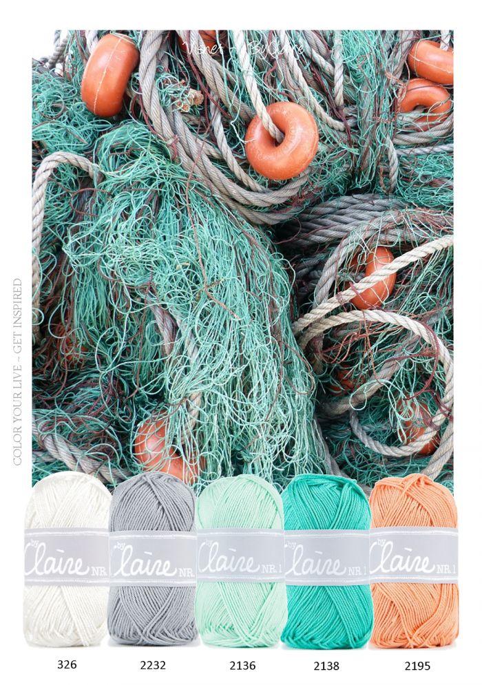 Kleurinspiratie - Visnet. Heerlijke kleuren combinatie om bijvoorbeeld een baby dekentje van te haken. Wit - Grijs - Aqua groen - en zacht oranje.
