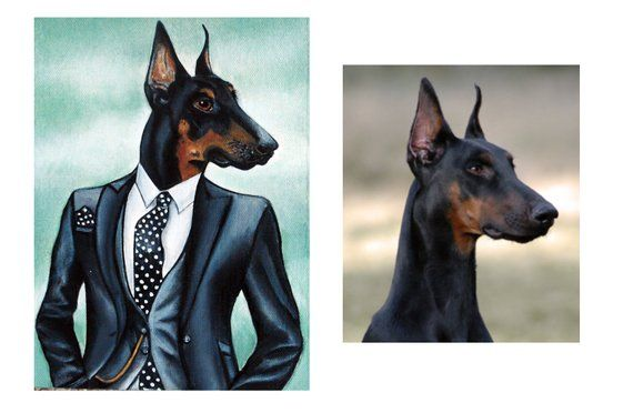 Dog Art Doberman Pinscher Dog Painting Hipster Dog In Clothes
