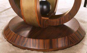Tavolo alto rotondo in essenza, particolari in acciaio brunito spazzolato