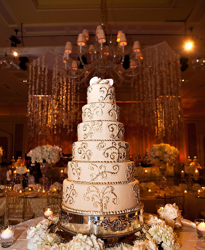 White & gold spiral wedding cake.. Not that tall.. Just like three tiers.