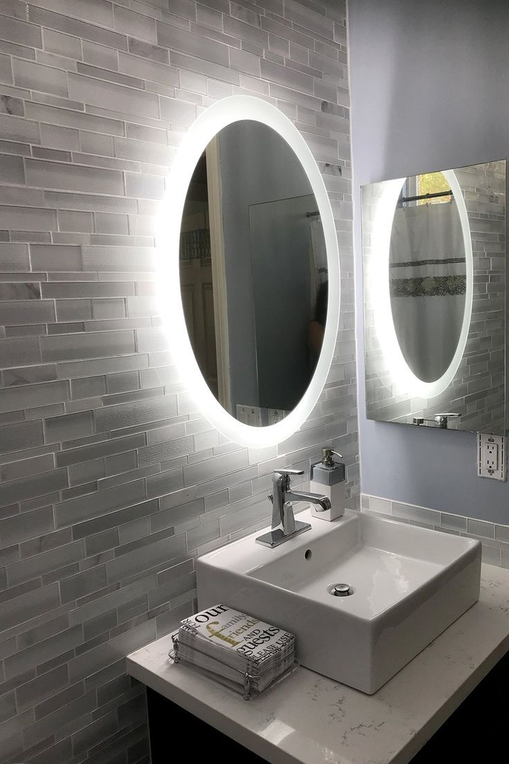Lighted Led Bathroom Vanity Mirror 20 X 28 Oval Wall Mounted With Images Bathroom Vanity Mirror Bathroom Vanity Trends Industrial Style Bathroom
