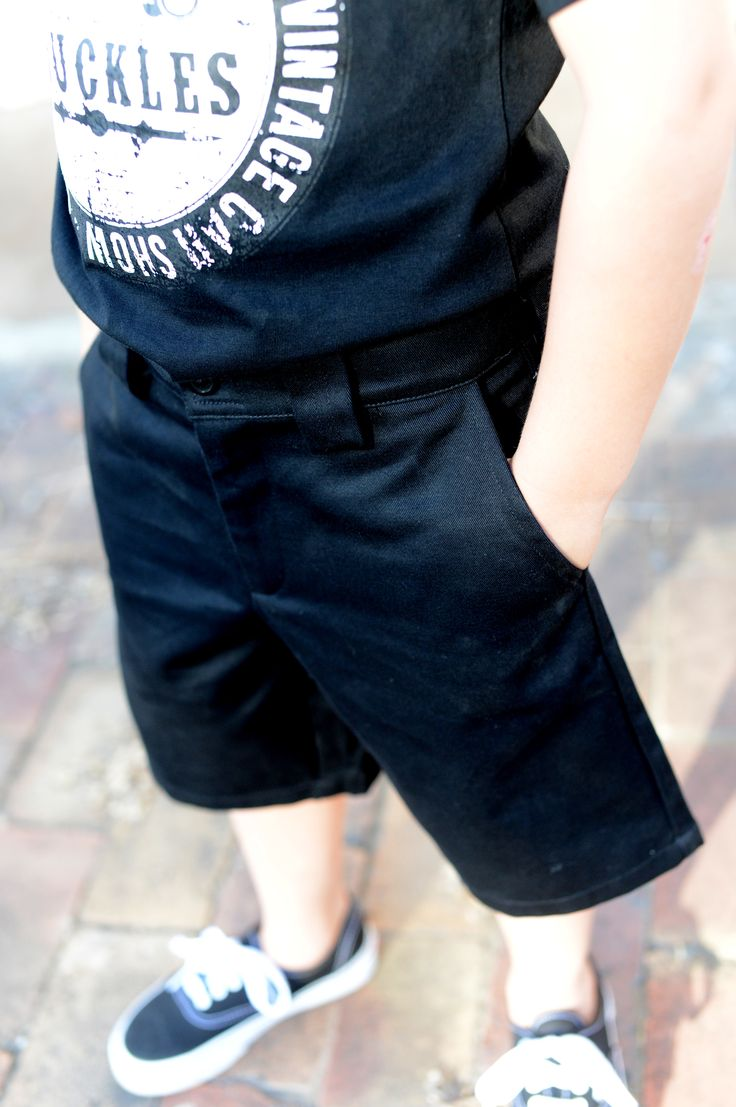 Knuckles Shorts are perfect for your greaser.  They have a hidden adjustable waistband to ensure the perfect fit and longer wear for growing kids.  Available in Black  Made from 100% Cotton Drill  Made in Australia  Knuckles Kustom Kulture Kids wear is available at www.bettiebaby.com.au