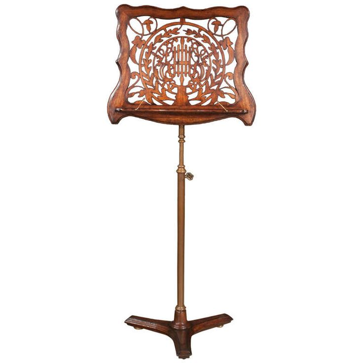 19th Century Carved Mahogany Music Stand on a Telescope Wood and Brass Stand | From a unique collection of antique and modern music stands at http://www.1stdibs.com/furniture/more-furniture-collectibles/music-stands/
