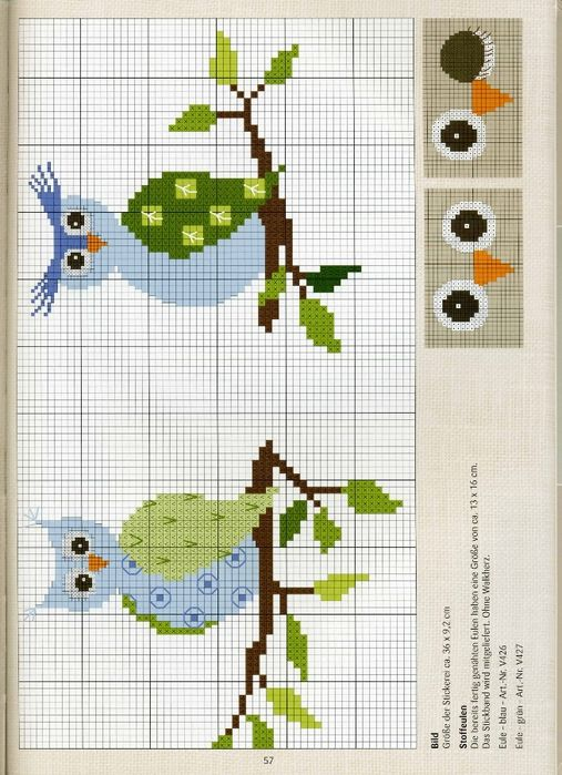 Cross stitch owls on a branch  PART 2
