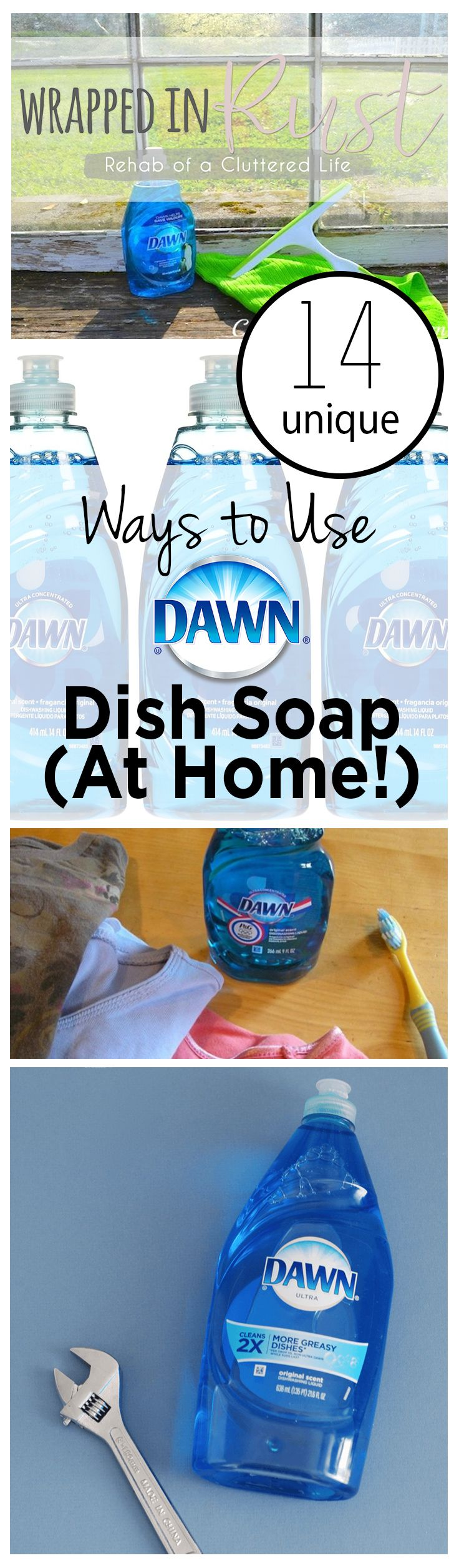 '14 Unique Ways to Use Dawn Dish Soap (At Home!)...!' (via wrappedinrust.com)