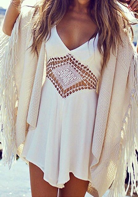 Hate rompers, but this crochet cut out is really cute (also, I look great in white).