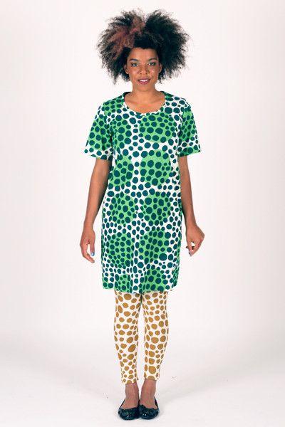 Spot Multi - Back Seam Short Sleeve Dress