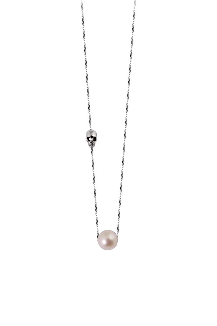Collier dor blanc avec perle blanche et Skull Claverin sur MonShowroom.com