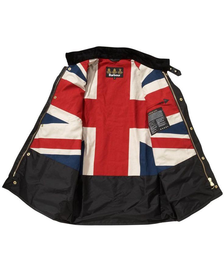 Barbour Mens Union Jack International Waxed Jacket - Black   Union Jack