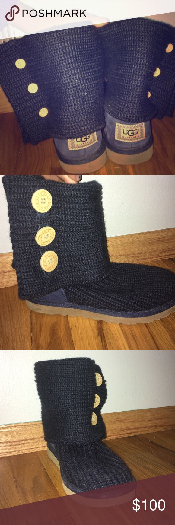 """Navy blue knit UGG boots """"Women's Classic Cardy"""" I purchased these boots from the Ugg Store at MOA last winter and wore them 3 times. They are super comfortable and the fur is still fuzzy. UGG Shoes Winter & Rain Boots"""