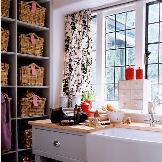 So pretty - love the curtains in this utility room.