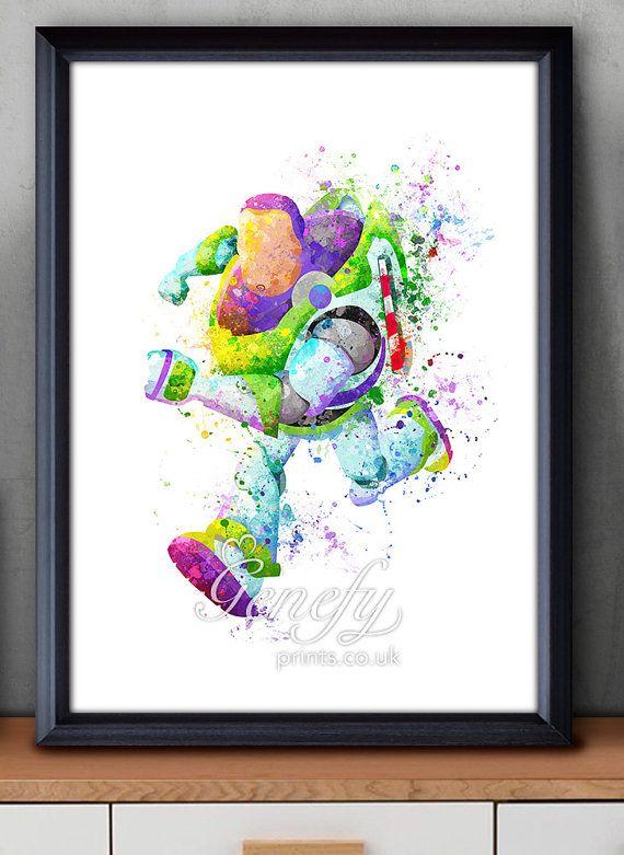 Disney Pixar Toy Story Buzz Lightyear Watercolor Poster Print - Watercolor Painting - Watercolor Art - Kids Decor- Nursery Decor