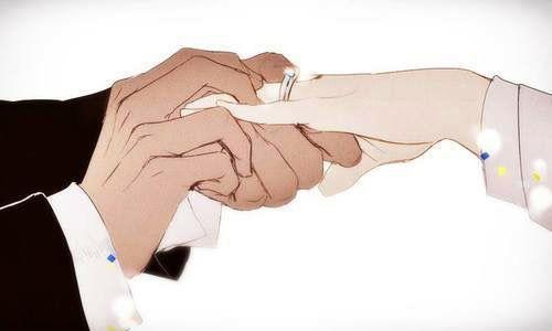 anime, ring, and wedding image